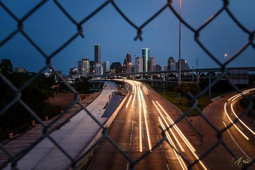 sunset skyline night fence twilight construction downtown texas unitedstates heart houston i45 quitmanbridge