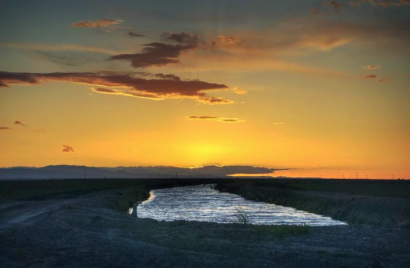 Sunset over California water