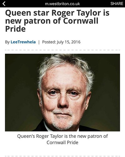 Absolutely thrilled 😎.  Such a legend!!  We look forward to seeing Roger soon and can't wait for you to all meet him one day too #roger #taylor #rogertaylor #partonofpride #patron #pride #cornwall #gaycornwall #instagay #gaubbot #gay #lesbian # | by Cornwall Pride **Official**