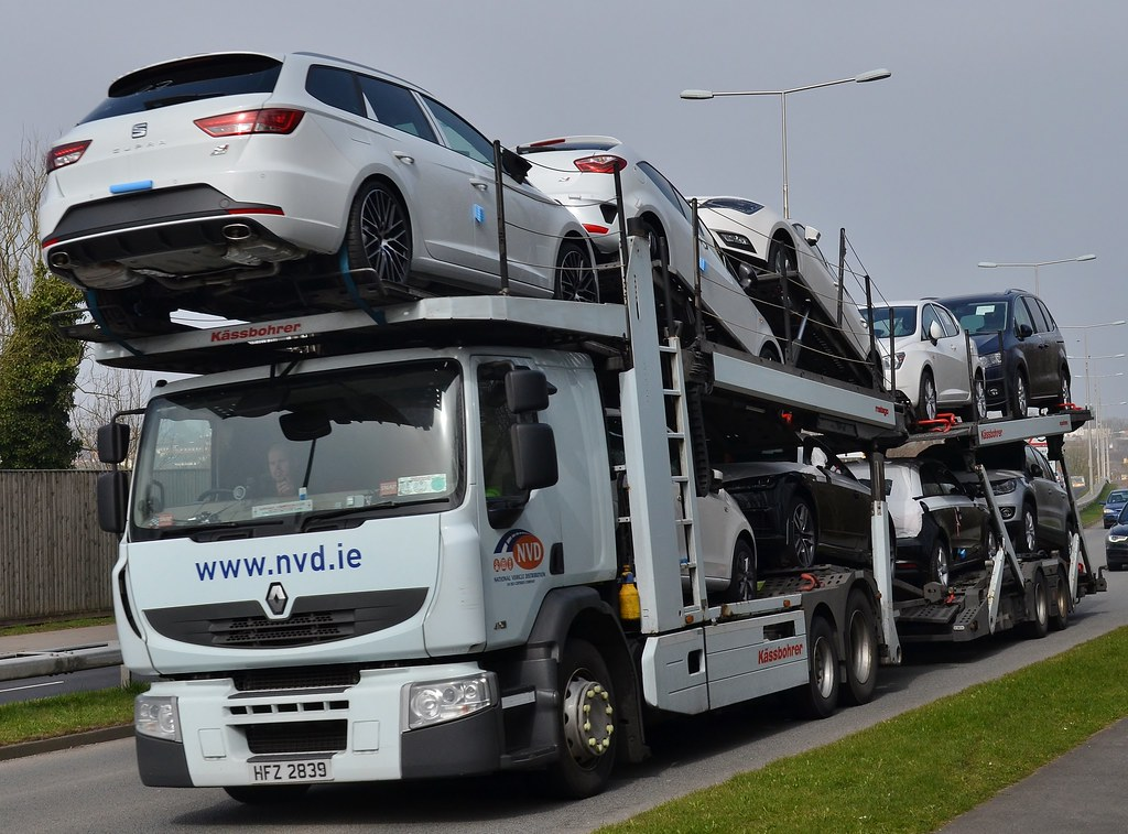 Renault Car Transporter The Driver Is Gesturing With His F