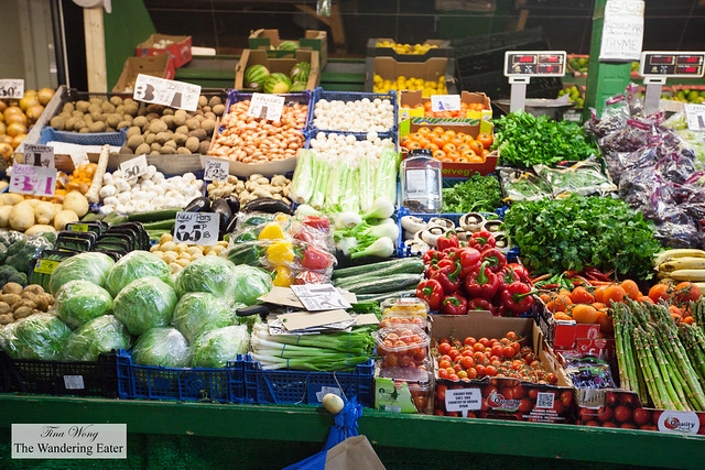 Produce stall at the end of Cardiff Market