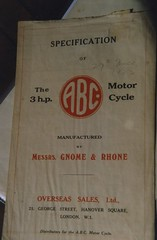 """""""Specification of The 3HP ABC Motor Cycle Manufactured by Messrs Gnome Rhone""""."""
