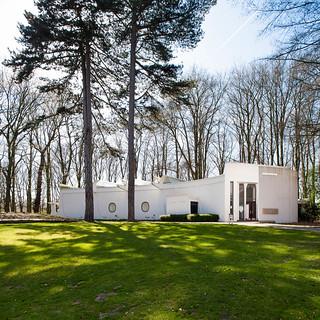 Belgium, Antwerp, Mideelheim pavilion designed by Renaat Braem