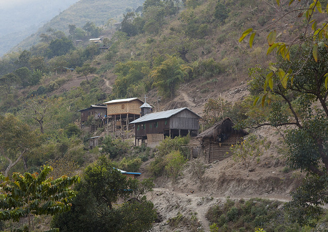 Typical Bamboo Houses In The Hills, Mindat, Myanmar