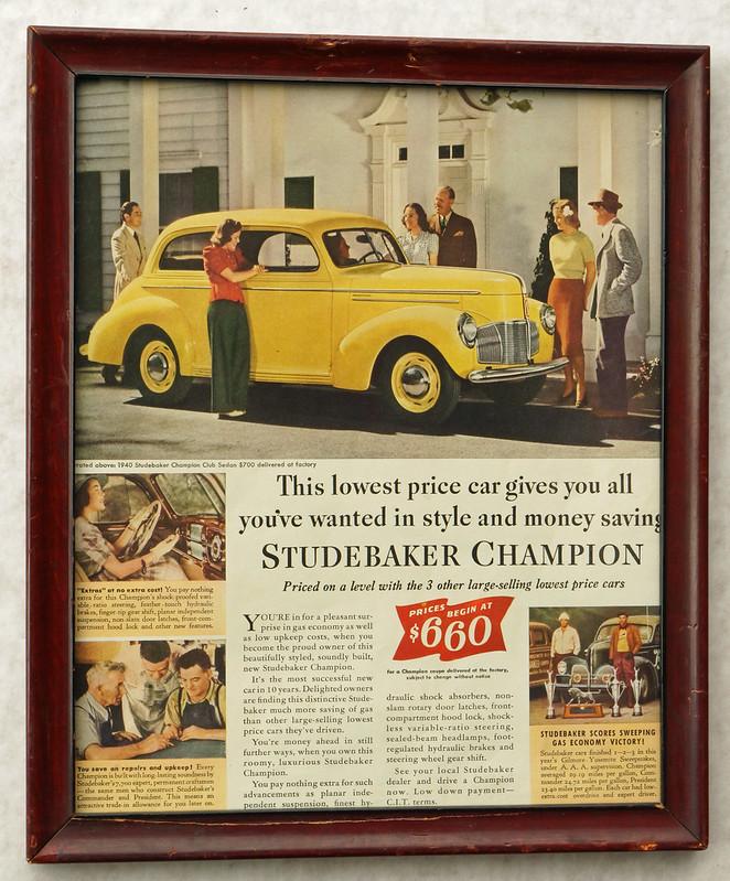 CM055 1940 Studebaker Car Ad Framed DSC04397