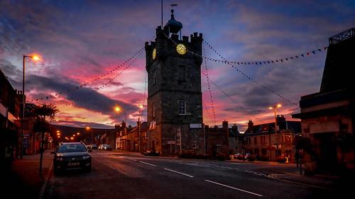 sunset tower clock scotland moray dufftown
