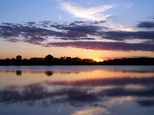 blue trees sunset sky lake reflection nature water clouds landscape