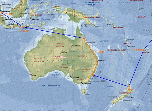 Weltreise Route