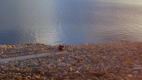 november autumn sunset people sunlight lake reflection fall water beautiful landscape outdoors daylight scenery waiting rocks alone fallcolors calm autumncolors missouri nophotoshop overlook ozarks branson earlyevening unfiltered partlycloudy kindredspirits tablerocklake southwestmissouri nohdr mobilephotography galaxys6 unmetfriends
