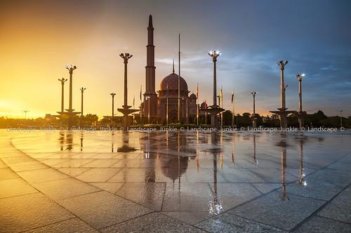 sunset rain reflections malaysia putrajaya goldenhour cpl sigma1020mm putramosque masjidputra leefilters nikond90 leecpl landscapejunkie muhamadfaisalibrahim