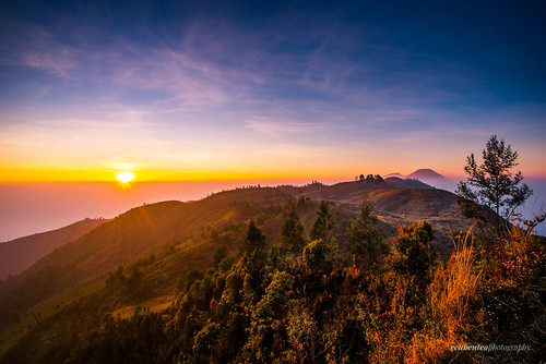 morning trees mountain clouds sunrise indonesia volcano climb java heaven hill javanese diengplateau centraljava dieng wonosobo diengvolcanocomplex