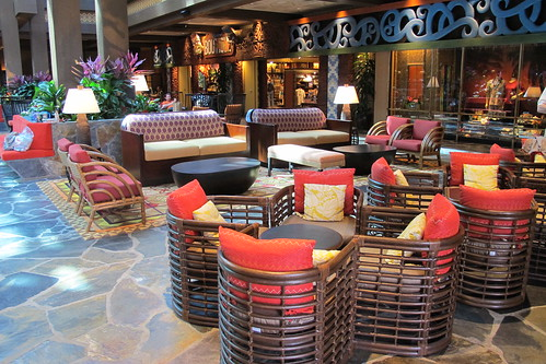 Rattan chairs in The Poly lobby   by The Tiki Chick