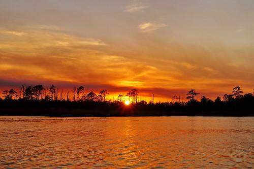 sunset sky cloud water creek landscape fire nc outdoor dusk smoke northcarolina newbern newbernnc jamescity croatannationalforest inversionlayer cravencounty fairfieldharbour spectacularsunsetsandsunrises
