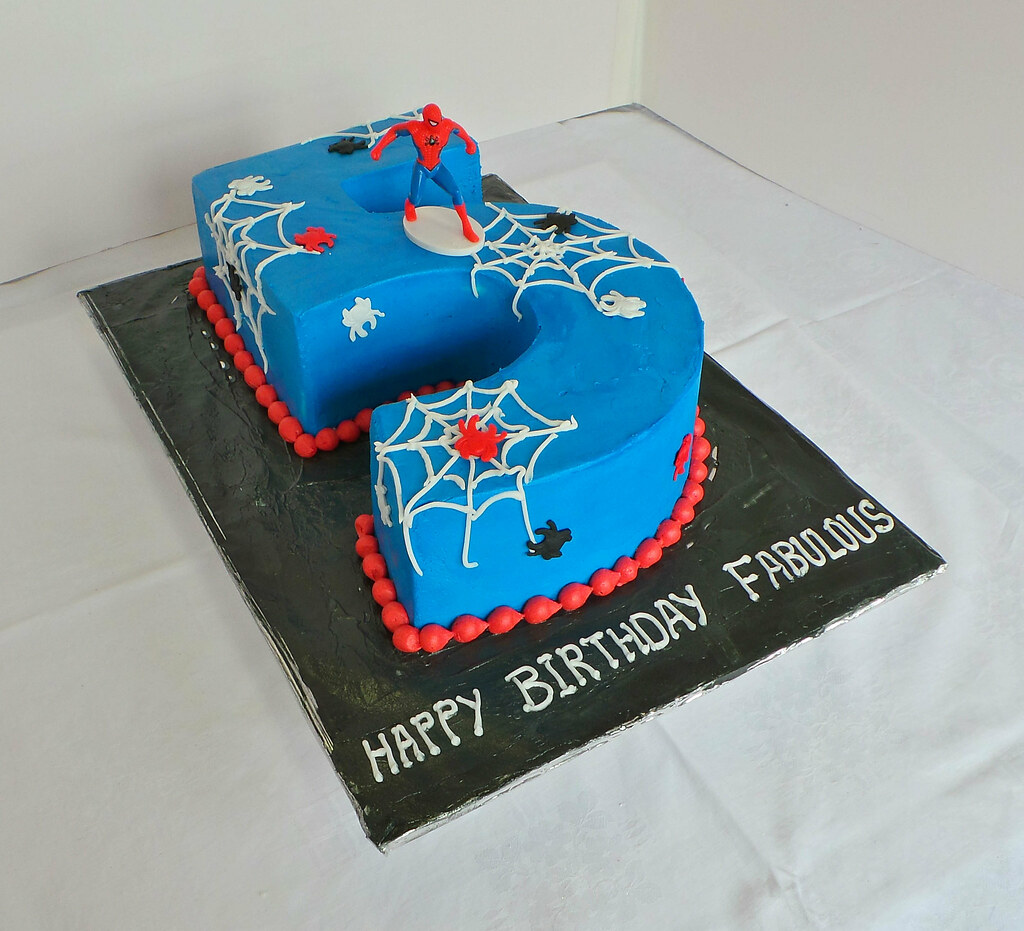 Cool Number 5 Spiderman Themed Birthday Cake Design Was Brought Flickr Personalised Birthday Cards Akebfashionlily Jamesorg