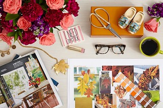 pink and red carnations and roses scissors glasses coffee cup wood shoes lipstick magazine layout leaves Autumn Fall | by ProFlowers.com