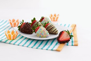 dipped strawberries with sprinkles and chocolate chips | by Berries.com