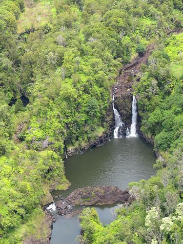 hawaii waterfall aerialview bigisland hilo wailukuriver