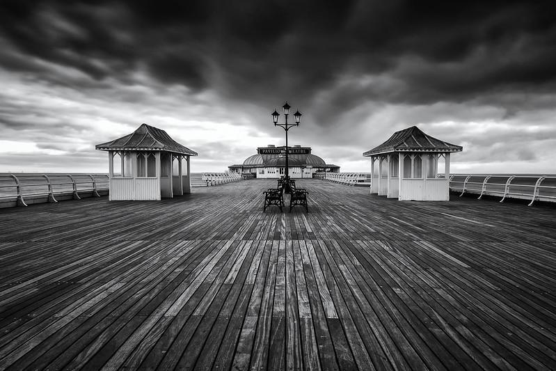 Cromer Pier in mono