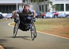 Retired Lt. Steve Simmons participates in race chair         practice during the 2015 Wounded Warrior Pacific Trials on Joint         Base Pearl Harbor-Hickam. (U.S. Navy/MC2 Diana Quinlan)