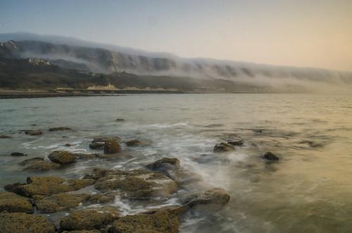 white water sunrise movement rocks foggy cliffs warren folkestone