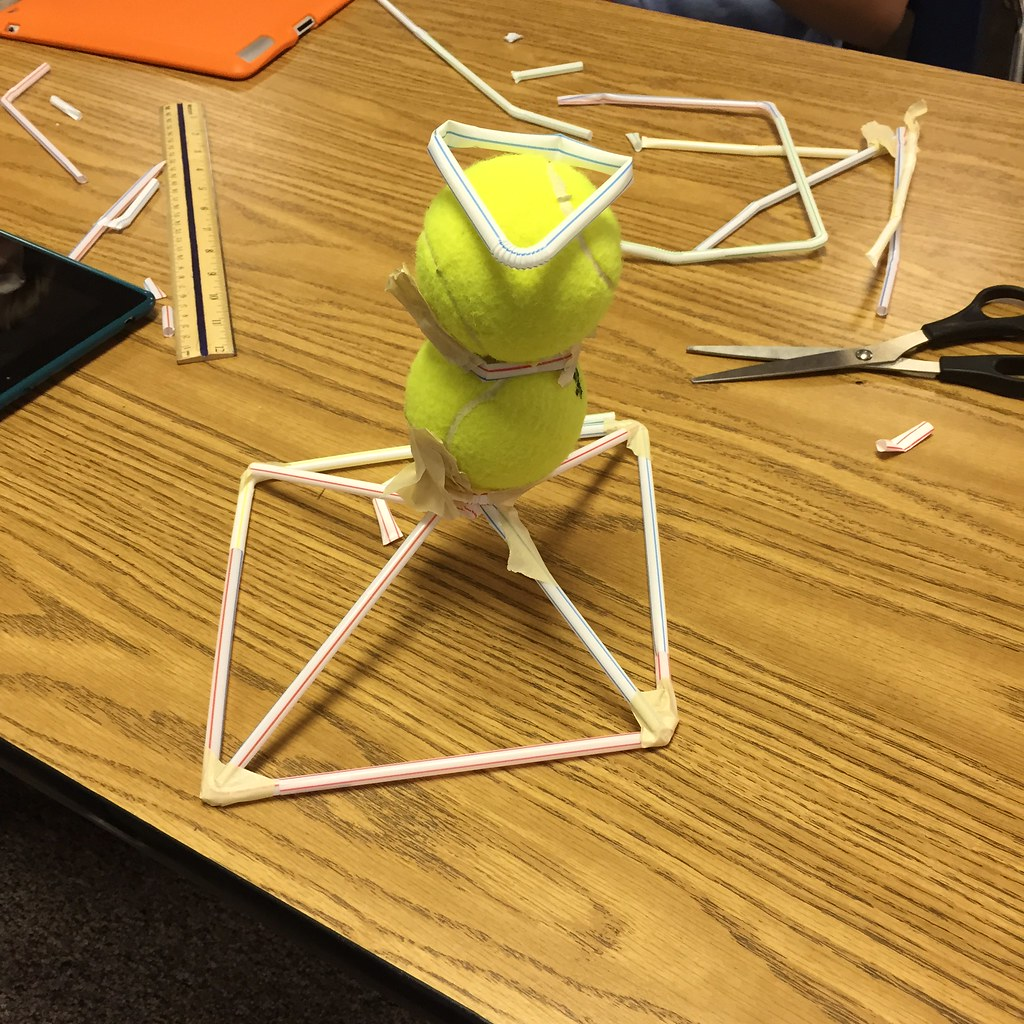 straw tower building tennis ball challenge