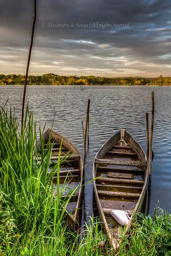 sunset cloud lake portugal water landscape boat transport hdr aveiro fermentelos pateiradefermentelo
