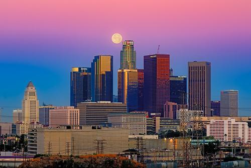 california urban moon skyline sunrise us losangeles twilight downtown unitedstates fullmoon dtla moonset