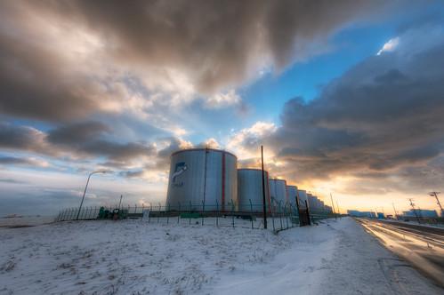 winter sunset industrial 北海道 日本 tomakomai 苫小牧市
