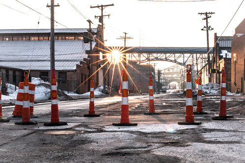 sun sunrise construction downtown cleveland thisiscle