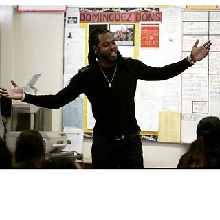 Richard Sherman visits alma mater Dominguez High School ...