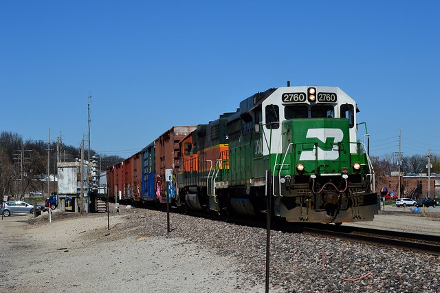 Burlington Northern lives on  , the Cuba Loacl rounds the bend at East Valley Park Missouri .