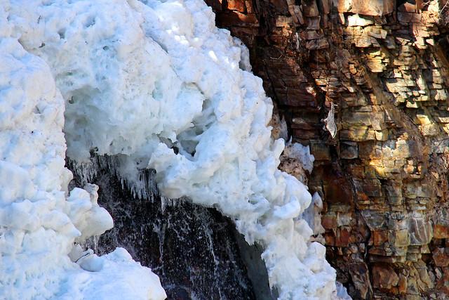 Ice & rock at Marysville Falls