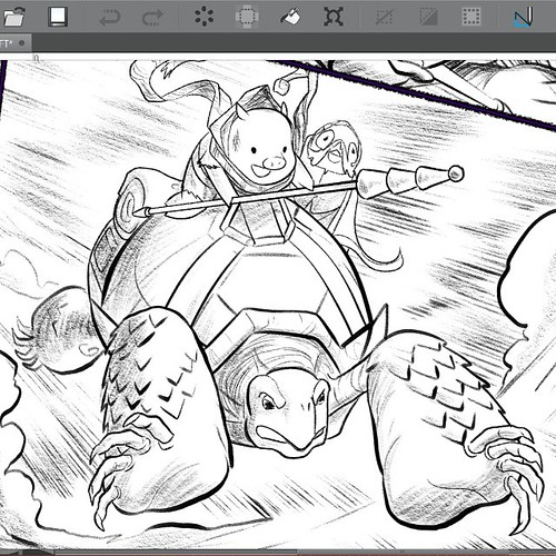 Almost done with the mini-comic. Just one more page to ink!   (Then I have to design & print the cover and set up the pagination, but the hardest part is almost done)   #boulderandfleet #pigs #tortoises #chickens | by Jerzy Drozd