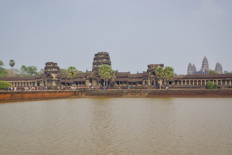 West entrance of Angkor Wat with moat near Siem Reap, Cambodia