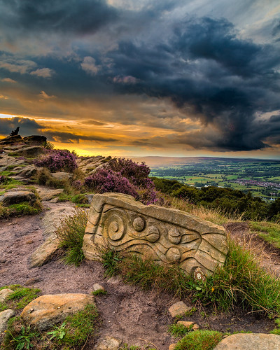 sunset sky art rock clouds heather yorkshire moors lowsun wharfedale yorkshiredales moorland chevin