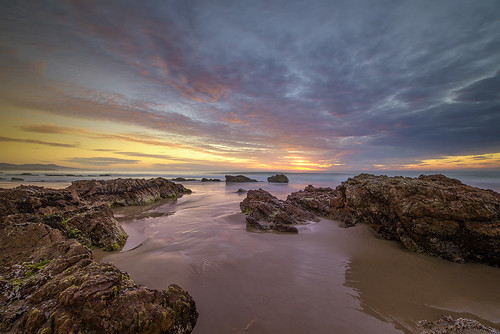mallacoota victoria australia beach rocks coast seascape sea sunrise clouds reflections fotodiox pro nikkor1424 longexposure