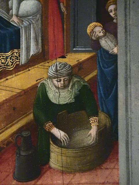 GIOVANNI FRANCESCO DA RIMINI (Attribué),1440-50 - Vie de la Vierge, La Naissance de la Vierge (Louvre) - Detail 07