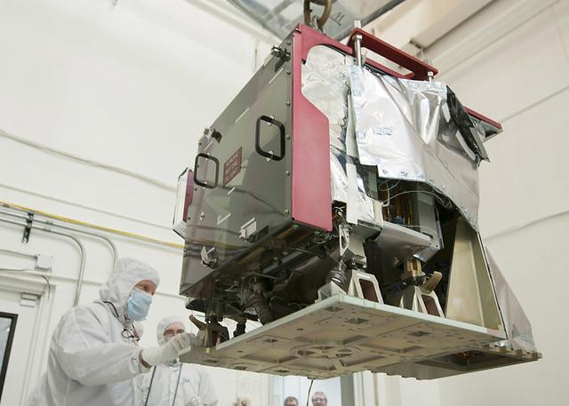 Ball Aerospace technicians prepare the CrlS instrument for integration