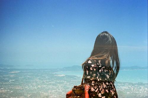 ocean travel sea film girl lady analog canon hair landscape thailand person scenery asia view wind kodak doubleexposure buddha multipleexposure fd50mmf18 analogue phuket canonae1 bigbuddha 50mm18 kodakektar ektar100