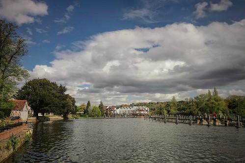 blue sky green clouds river landscape riverside riverscape