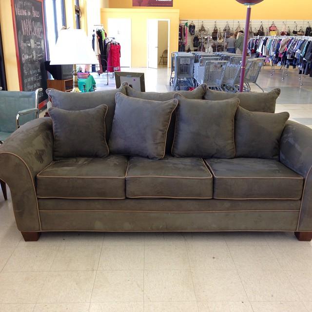 Like new kroehler sage green microfiber sofa $299.99 at ou ...