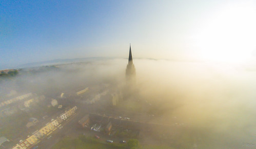 morning ireland sunset mist church st fog sunrise cathedral spire eugenes derry