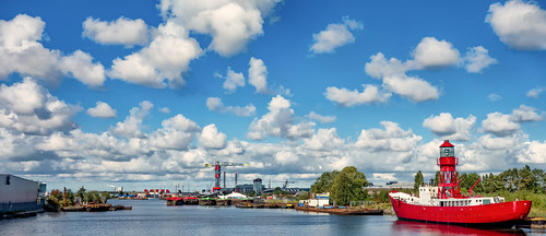 amsterdam clouds ship harbour crane bluesky lightship waterscape bluemonday portarea nederlandvandaag