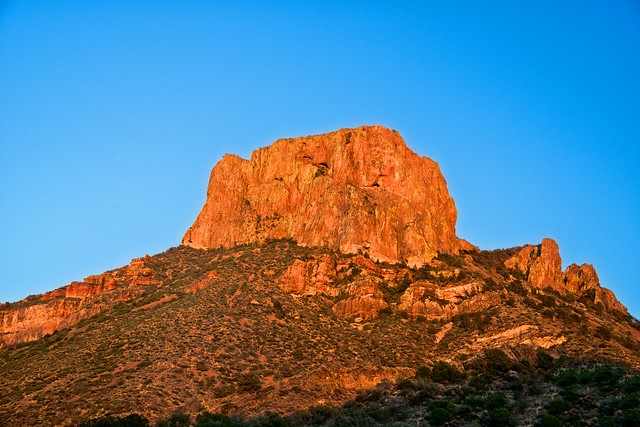 Casa Grande Caught in the Light of a Setting Sun (Big Bend National Park)