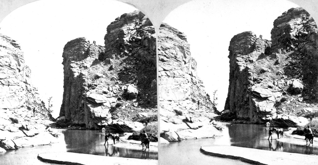 Picturesque view of Rocky Mountain scenery. Devil's Gate. Wyoming. 1870.