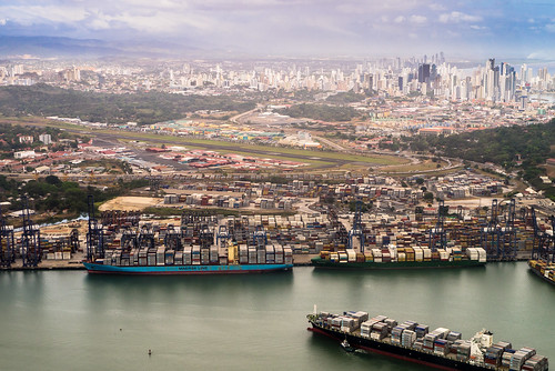 skyline canal cityscape aerial panamá containers albrook vedutta