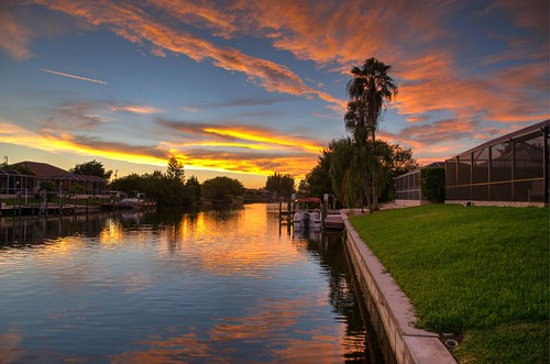 sunset usa water clouds canal us nikon florida hdr capecoral photomatix 2013 nikond7000