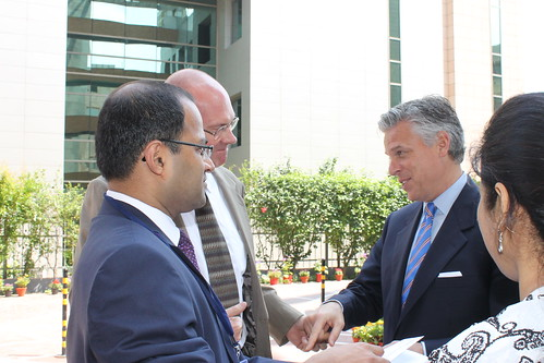 Dr. Bharath Gopalaswamy, Acting Director, South Asia Center with Gov. Jon Huntsman Jr with US Embassy Delhi colleagues