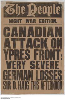 War poster communicating news from Sir D. Haig of heavy German losses at Ypres front, 1914–1918 / Une affiche de guerre annonce la nouvelle transmise par sir D. Haig : les Allemands ont encaissé de lourdes pertes à Ypres, 1914-1918