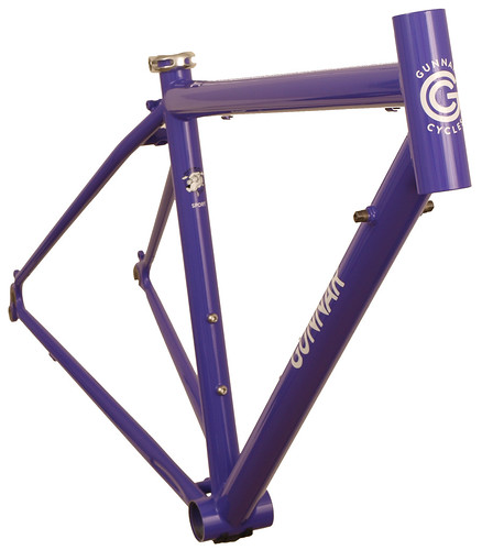 <p>Front view of Gunnar Sport in Purple Velvet.  This 50cm size is the smallest stock 700 size with an actual seat tube of only 41.5cm.  The Sport provides a smooth ride for distance oriented cyclists.  Note the built-in head tube extension - the so-called &quot;fat lip&quot;, which allows a more comfortable fit for all-day riding.</p>